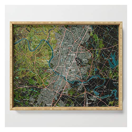 Austin Texas Old Vintage Colorful Map, Original Gift For Office Decoration by Routes on Serving Tra