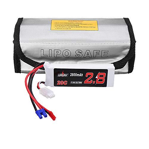 wchaoen Spina JST 7V 2800mAh 20C 2S Lipo Batteria Spina EC2 con Borsa Fire-Proo for Hubsan H501S H501A H501M H501C Accessori per Utensili