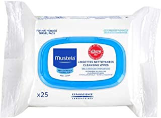 Mustela Cleansing Wipes, Baby Wipes, Ultra Soft, On the Go Travel Wipes, Lightly Scented, with Natural Avocado Perseose an...
