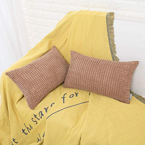HWY 50 Decorative Lumbar Throw Pillows Covers Soft Comfy Corduroy Solid Brown Rectangle Pillow Covers Cushion Cases Set for Couch Sofa Bedroom 12 x 20 inch Pack of 2, Corn Striped Decoration