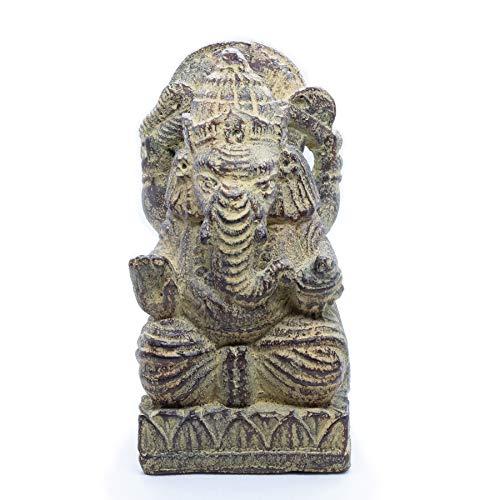 NaRoom Ganesha Skulptur Hinduismus Gottheit Figur ca. 15 cm klein Sockel Statue Elefant-Kopf Sitzend Deko Wohnbereich Naturmaterials Lavasand