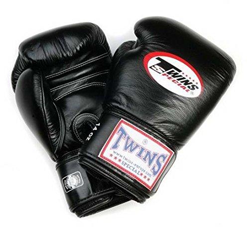 Guantes de boxeo de cuero Twins con velcro largo BG-N negro 8-20...