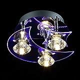 YOURDER G4 LED Acrylic Crystal Ceiling Light Fixtures - Moon Star Style, H5.5'' x W9.5'', Pendant Flush Mount Lighting for Children Bedroom Kids Living Room