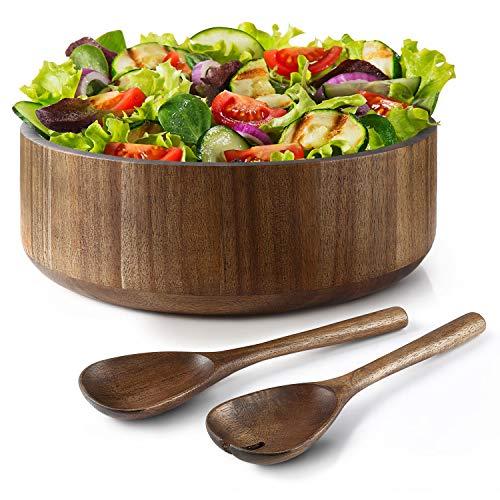 Miusco Natural Acacia Wooden Large Salad Serving Bowl with Tongs Set, 12 Inch, 200 Oz./6.25 Quarts,...