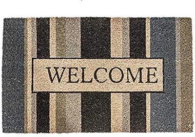 "NoTrax, Welcome Gray, Vinyl-Backed Natural Coir Doormat, Entry Mat for Indoor or Outdoor Use, 18""x30"", C12 (C12S1830WG)"