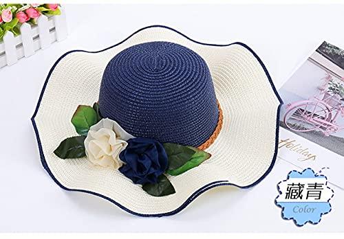 QND,Sombrero,Sombrero de Paja con Cinta Floral de Retazos para Mujer, Sombrero para el Sol Flojo, Gorra de Panamá para Vacaciones en la Playa Informal de Verano para Mujer, 004, tamaño ADU