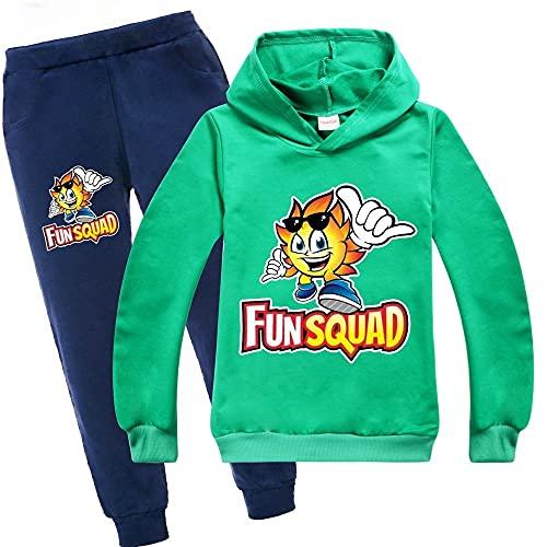 Unisex Kids Fun Squad Gaming Suit 2 piezas de manga larga con capucha y pantalones para niños y niñas pantalones Tops