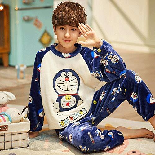 SUMHOM Pijamas para niños de otoño e Invierno, Trajes de Servicio a Domicilio de Dibujos Animados para niños-Doraemon_Talla 14 (Altura Recomendada 125-135 cm)