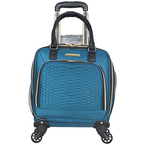 """Aimee Kestenberg Women's Florence 16"""" Polyester Twill 4-Wheel Underseater Carry-on Luggage, Teal"""