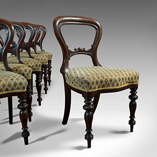 C.1850 - Juego de 6 sillas de comedor, diseño antiguo, color nogal, estilo victoriano