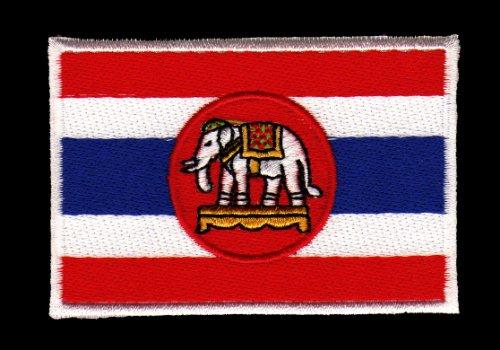 Aufnäher Bügelbild Aufbügler Iron on Patches Applikation Elefant Flagge Thailand