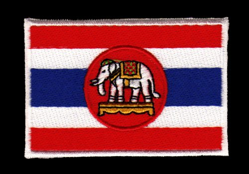 Aufnäher Bügelbild Aufbügler Iron on Patches Applikation Elefant Flagge Thailand