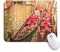 ZOMOY マウスパッド 個性的 おしゃれ 柔軟 かわいい ゴム製裏面 ゲーミングマウスパッド PC ノートパソコン オフィス用 デスクマット 滑り止め 耐久性が良い おもしろいパターン (ヴェネツィアの赤い路地に2つのゴンドラとカラフルなアドリア海運河)
