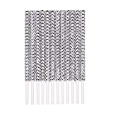 Rhinestone Bling Paper Sticks for Lollipop Cake Pop Apple Candy Buffet Treat Wedding Party Favor 6 inch (Silver, 24 count)