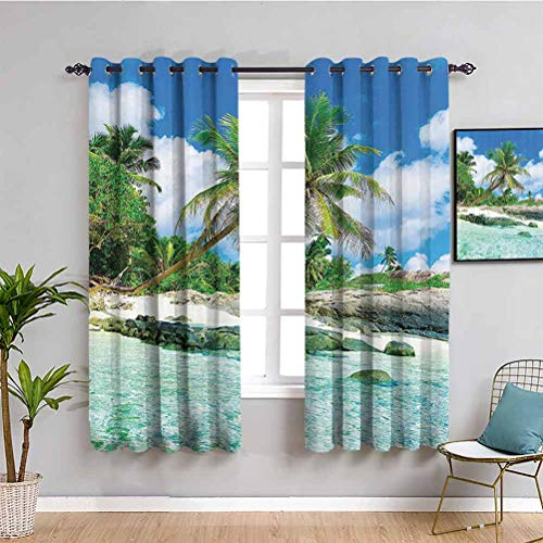 Seaside Decor Collection Printed Blackout Shades for Bedroom Scene Rocks Palms Shades Jungle Honeymoon Islands Remote Resort Leisure Privacy Protection W63 x L45 Inch Teal Green Blue