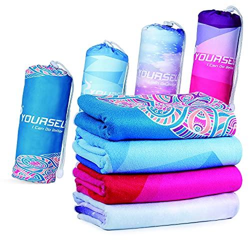 SYOURSELF Yoga-Handtuch, 72 x 24 cm, rutschfest, ultra saugfähig, weich, perfekte Mikrofaser, Hot Skidless Bikram Yoga-Handtuch für Fitness, Training, Sport & Outdoor + Reisetasche, Geo, 72