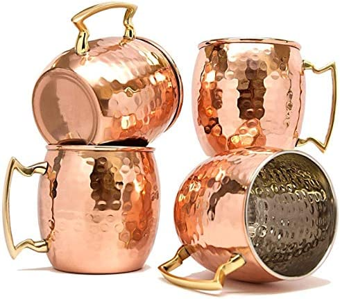 RATNA Moscow Mule Mugs Set of 4 Handcrafted Copper Mug Pure Solid Stainless steel Copper Cups product image
