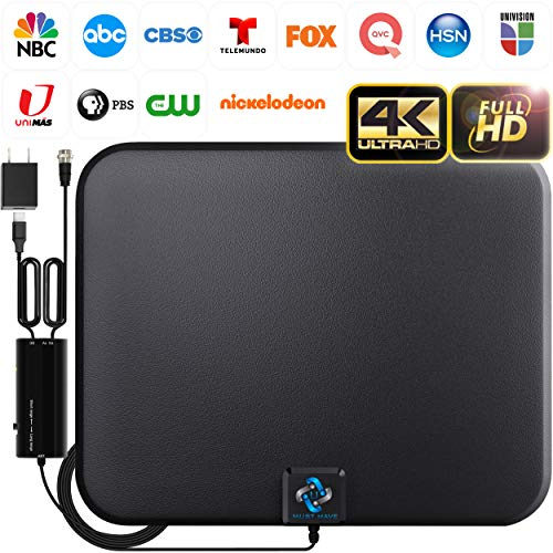 U MUST HAVE Amplified HD Digital TV Antenna Long 180 Miles Range - Support 4K 1080p Fire tv Stick and All Older TV's - Indoor Smart Switch Amplifier Signal Booster - 18ft Coax HDTV Cable/AC Adapter