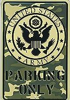米国陸軍駐車場のみヴィンテージスタイル金属看板鉄絵画屋内 & 屋外ホームバーコーヒーキッチン壁の装飾 20 × 30 センチメートル