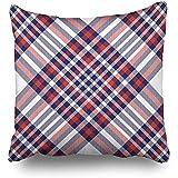 Fodere per cuscini da pigiama con motivo a quadri scozzese rosso rosso bianco blu astratta a scacchiera federa 45 x 45 cm (18 x 18 pollici)