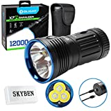 Olight X7R 12000 Lumens USB Rechargeable Flashlight for Camping,Hunting,Searching,with 4 X 18650 Rechargeable Batteries (Built-in) and SKYBEN Accessory