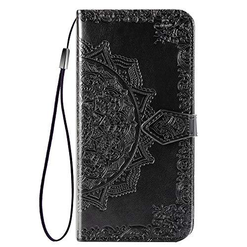 Fertuo Hülle für Huawei P Smart Z/Honor 9X, Handyhülle Leder Flip Hülle Tasche mit Kartenfach, Magnet & Standfunktion [Mandala] Schutzhülle Ledertasche für Huawei P Smart Z/Honor 9X, Schwarz