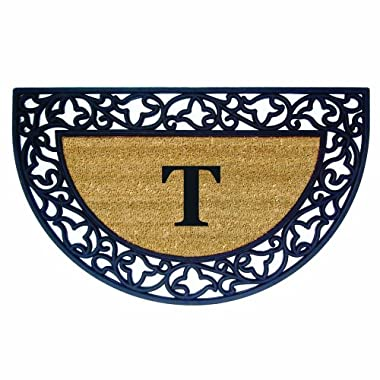 Nedia Home Acanthus Border with Half Round Rubber/Coir Doormat, 22 by 36-Inch, Monogrammed T