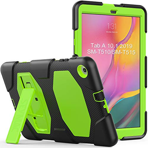SEYMAC, Custodia Per Galaxy Tab 10.1 (SM-T510 SM-T515), Custodia Integrale Antiurto Robusta Con Cavalletto Robusto Per Samsung Galaxy Tab A 10.1 2019 nero verde