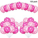 EASTiii Party Balloons, 12inch Pink Polka Dot Balloons, Party Decoration Compatible Wedding Birthday Baby Shower Graduation Party Christmas Party (100 Pcs)