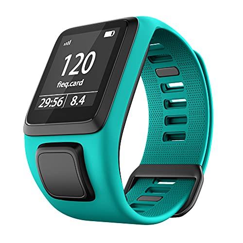 KINOEHOO Ersatzarmband kompatibel mit Tomtom Runner 2/Cardio + Music/Runner 3/Spark 3 Armband Weiche Silikon Uhrenarmbänder.(Blau Grün)