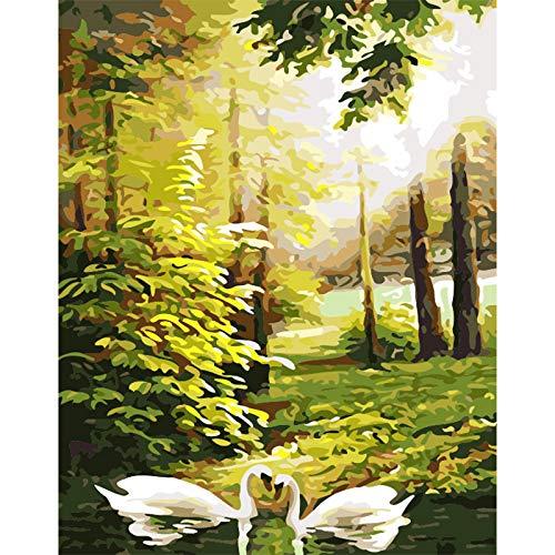 Geiqianjiumai Zwaan, moeder en kind, houten landschap, canvas, bruiloft, decoratie, kunst, foto, geschenk zonder lijst, schilderij