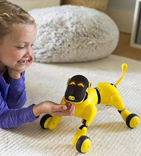 """HearthSong Gizmo The Voice Controlled Robotic Dog - Electronic Pet Toy for Kids - 13 L x 5 W x 7"""" H, Yellow"""