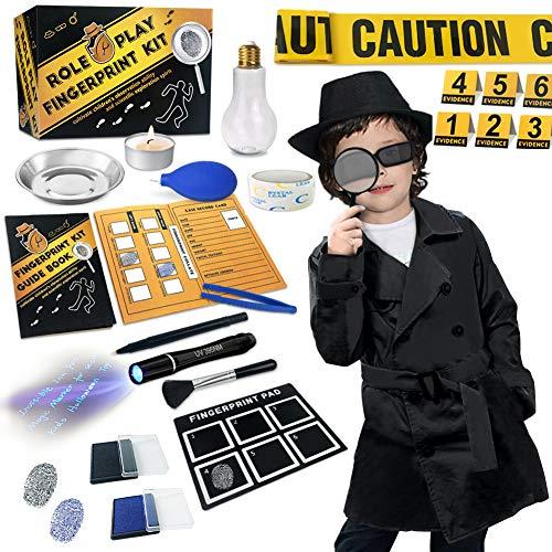 UNGLINGA Kit de espía Detective de niños - Boligrafo Tinta Invisible Huella Dactilar Disfraz Juego de Roles de Vestir Juguetes de Ciencia Stem Regalos de Cumpleaños para Niños y Niñas