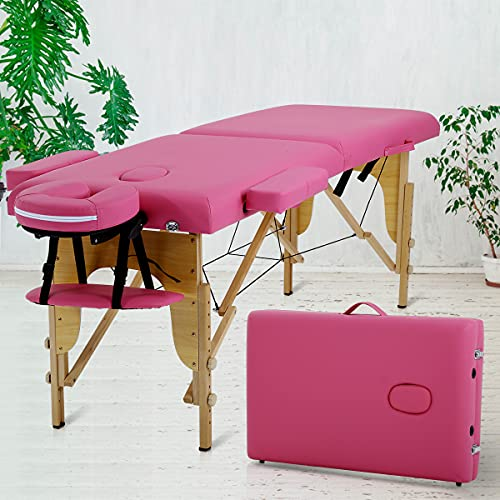 Best Home Product 73 Inch 2 Folding Massage Table Massage Bed Spa Bed Portable Height Adjustable W/Face Cradle Carry Case Spa Table for Salon Beauty Treatment Tattoo Household,Pink