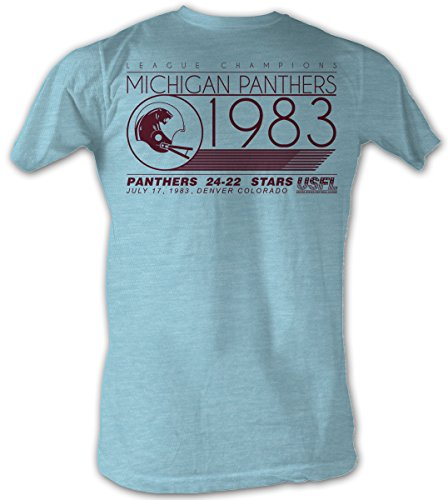 USFL T-Shirt Michigan Panthers Champions Light Blue Heather Tee, XL