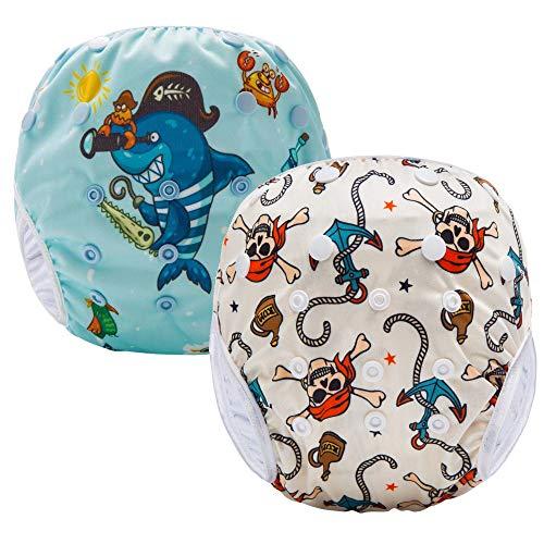 Pannolini Piscina Costume Contenitivo Neonato Bambino Riutilizzabili Pannolini da Nuoto Mare E Piscina Baby Slip Cover Lavabile Spiaggia Costumino Bimba Set 2 (Arancio Octopus)