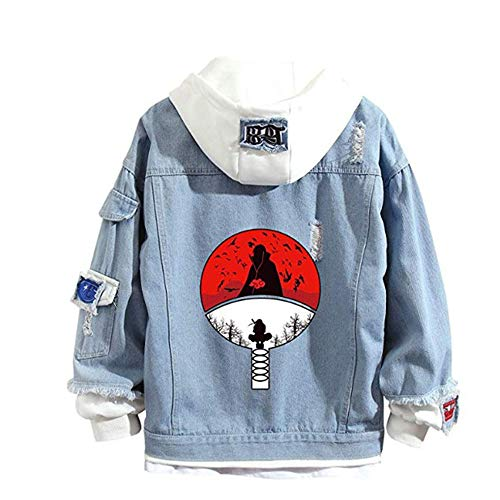 Famesale Unisex japanische Naruto Anime Hoodie Jacke Cosplay Uchiha Sasuke Jeansjacke Anime Sweatshirt Kostüm Casual Sweatshirt