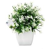 TOSSOW 人工観葉植物 造花 フェイクグリーン フェイク観葉植物 四方鉢 インテリア プレゼント 緑と白い葉