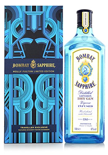 Bombay Sapphire Gin Holly Fulton Limited Edition mit Geschenkverpackung und Schal (1 x 1 l)
