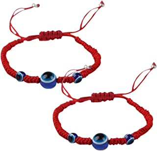 روسينس شرير العين مضفر أساور قابل للتعديل المنسوجة سوار اليد محبوك للبالغين الأطفال 2 قطعة (أحمر)