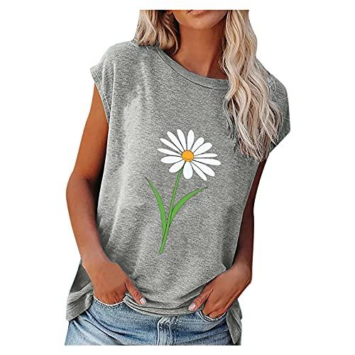 AMhomely Camiseta de manga corta suelta para mujer, para fiesta, elegante, informal, cuello redondo, manga corta, para mujer, talla 7 a 10 días