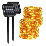 Catena Luminosa Esterno Solare, Segotendy 2 Pezzi 15M 120 LED Luci Solari Esterno, Stringa Luci Solari Impermeabile, 8 Modalità Lucine da Esterno Decorative per Giardino Patio Natale (Bianco Caldo)