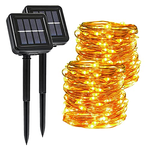 Guirnaldas Luces Exterior Solar, Segotendy 2 Pack 15M 120 LED Luces Solares Exterior Jardin, 8 Modos IP65 Impermeable Cadena de Luces Decoracion para Navidad, Terraza, Fiestas, Bodas, Patio, Jardines