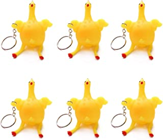 X Hot Popcorn Pack of 6, Funny Decompression Chicken Toy Squeeze Laying Egg Keychain Keyrings Reduce Stress Relief Ball Novelty Venting Anger Toys