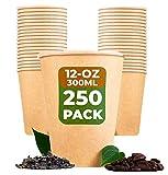 BEELEEVE [250 – Pack] tazas de café y té compostables - Biodegradables - Contenedores desechables para bebidas de oficina, fiestas y bodas - Papel Kraft marrón, recubrimiento de PLA (300ml/12oz)