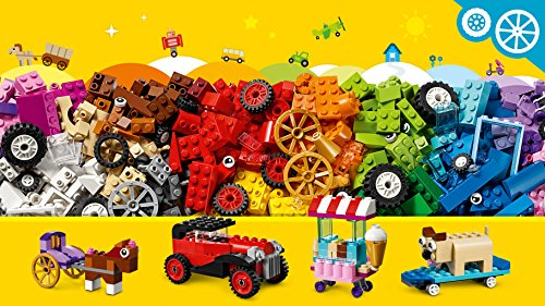 LEGO 10715 Classic Bricks on a Roll Construction Set, Colourful Vehicle Toy Bricks, Building Playset with Tires and Wheels (422 Pieces)