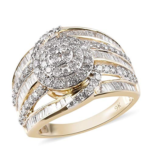 TJC White Diamond SGL Certified Cluster Ring for Women Wedding Jewellery in 9ct Yellow Gold I2/I3 Size O, TCW 2ct.