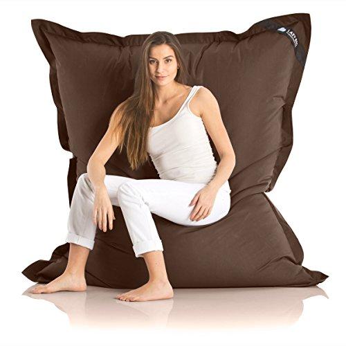 Lazy Bag Original Indoor & Outdoor Sitzsack XXL 400L Riesensitzsack Sitzkissen Sessel für Kinder & Erwachsene 180x140cm (Braun)