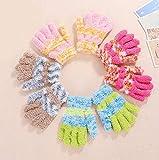 6 paia di guanti elasticizzati a dita intere, per bambini, invernali, caldi, per ragazzi e ragazze, guanti da bambini (colore casuale)