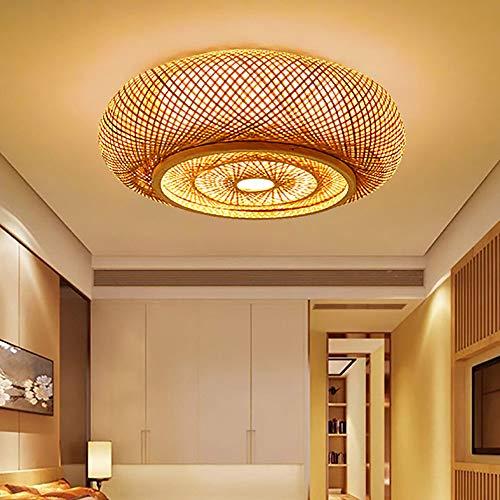 HIZH Lámpara de techo LED de bambú Lámpara de techo de bambú vintage Lámpara de techo de bambú natural Lámpara de araña regulable de bambú creativa Lámpara colgante hecha a mano creativa, 80 CM